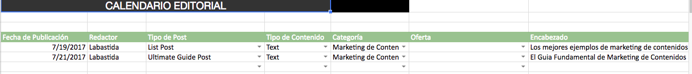 Calendario Editorial de Content Marketing